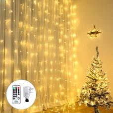 Qedertek Christmas Curtain Lights, 300 LED Fairy Curtain Lights, 8 Modes Christmas Fairy Lights Waterfall Lights for Xmas Tree, Party, Wedding, Garden, Bedroom, Christmas Decoration (Warm White)