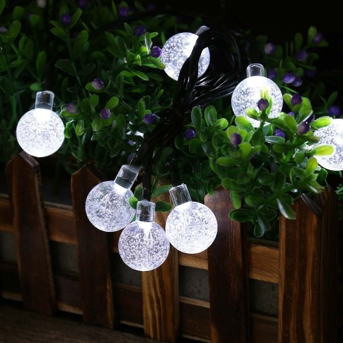 Qedertek Solar Christmas Fairy Lights 30 Led Crystal Ball Outdoor String Lights Waterproof 8 Modes Solar